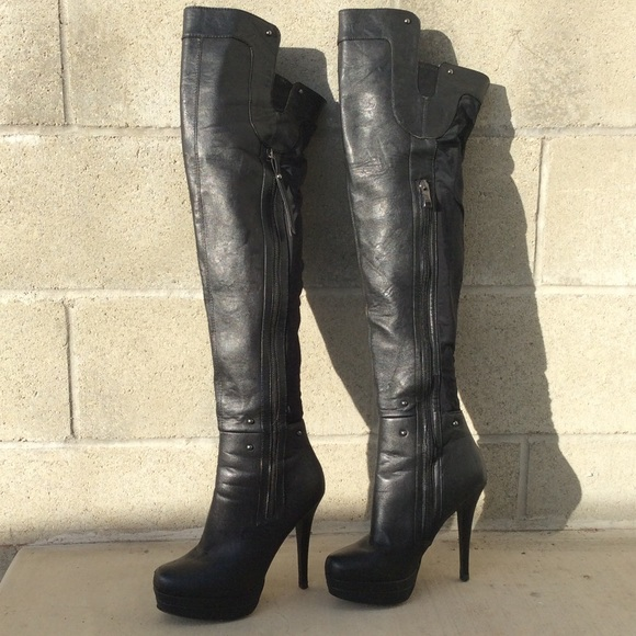 64b5211f2484 Steve Madden Shoes   Tudor Sexy Black Over The Knee Boots   Poshmark